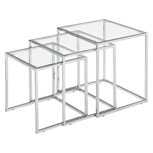 Pasos Nesting Table with Clear Glass