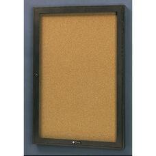 Rival Aluminum Frame Bulletin Board Cabinet with Tan Nucork Back Panel - 24