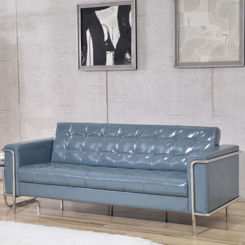 HERCULES Lesley Series Contemporary Gray LeatherSoft Sofa with Encasing Frame