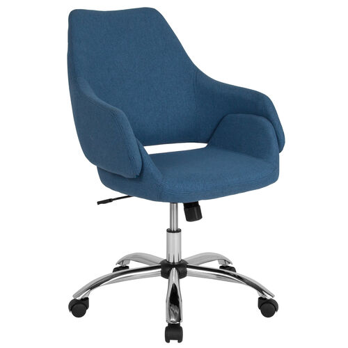 Our Madrid Home and Office Upholstered Mid-Back Chair in Blue Fabric is on sale now.