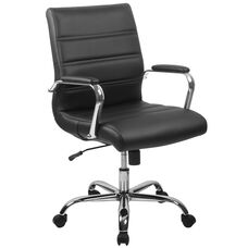 Mid-Back Black Leather Executive Swivel Office Chair with Chrome Base and Arms