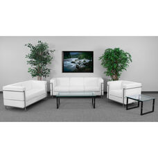 """HERCULES Regal Series Living Room Set in White LeatherSoft with <span style=""""color:#0000CD;"""">Free </span> Glass Coffee and End Table"""