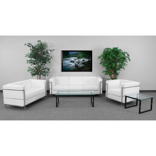 """Our HERCULES Regal Series Living Room Set in White LeatherSoft with <span style=""""color:#0000CD;"""">Free </span> Glass Coffee and End Table is on sale now."""