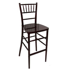 Legacy Series Stacking Wood Gloss Finish Chiavari Bar Stool - Mahogany Finish