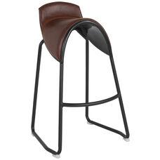 Santa Fe Saddle Chair Barstool in Brown Vinyl