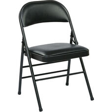 Work Smart Folding Chair with Vinyl Seat and Back - Set of 4 - Black