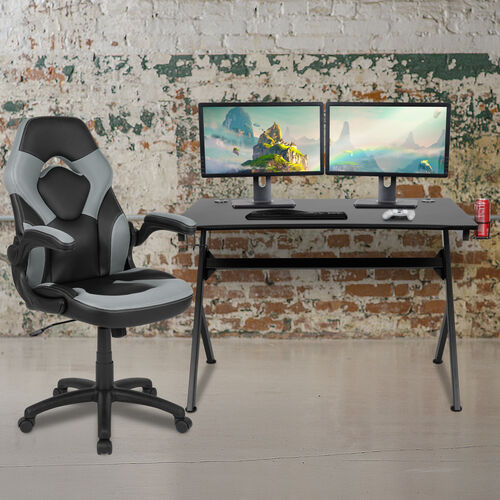 BlackArc Black Gaming Desk and Gray/Black Racing Chair Set with Cup Holder, Headphone Hook & 2 Wire Management Holes