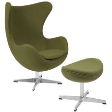 Grass Green Wool Fabric Egg Chair with Tilt-Lock Mechanism and Ottoman