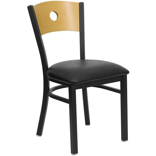 Our Black Circle Back Metal Restaurant Chair with Natural Wood Back & Black Vinyl Seat is on sale now.