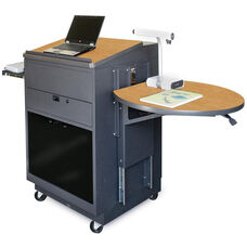 Vizion Sit Stand Mobile Teaching Center with Acrylic Doors and Lectern - Dark Neutral Finish and Oak Laminate