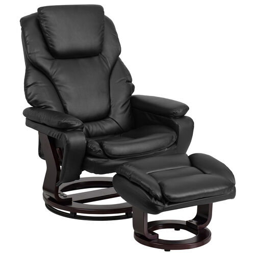 Our Contemporary Multi-Position Recliner and Ottoman with Swivel Mahogany Wood Base in Black LeatherSoft is on sale now.