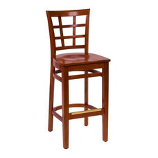 Pennington Cherry Wood Window Pane Barstool - Wood Seat