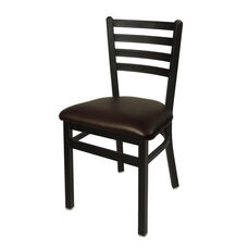 Lima Metal Ladder Back Chair - Dark Brown Vinyl Seat