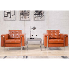 HERCULES Lesley Series Contemporary Cognac LeatherSoft Chair with Encasing Frame