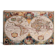 Antique World Map by Henricus Hondius Gallery Wrapped Canvas Artwork with Floating Frame - 27
