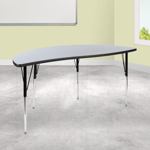 """60"""" Half Circle Wave Collaborative Grey Thermal Laminate Activity Table - Standard Height Adjustable Legs"""