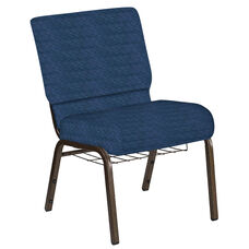 Embroidered 21''W Church Chair in Arches Navy Fabric with Book Rack - Gold Vein Frame