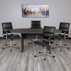 5 Piece Rustic Gray Oval Conference Table Set with 4 Black LeatherSoft Panel Back Executive Chairs