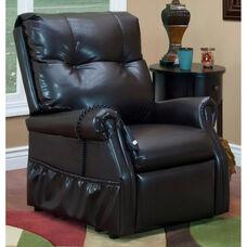 Economy Model Two Way Reclining Power Lift Chair with Magazine Pocket - Dawson Dark Brown Vinyl
