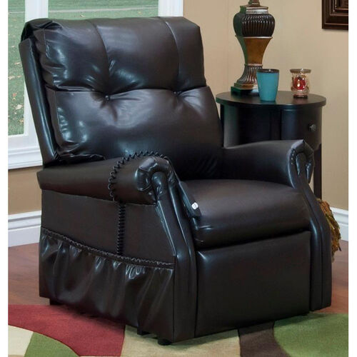 Our Economy Model Two Way Reclining Power Lift Chair with Magazine Pocket - Dawson Dark Brown Vinyl is on sale now.