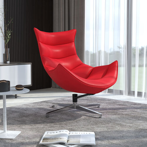 Red LeatherSoft Swivel Cocoon Chair