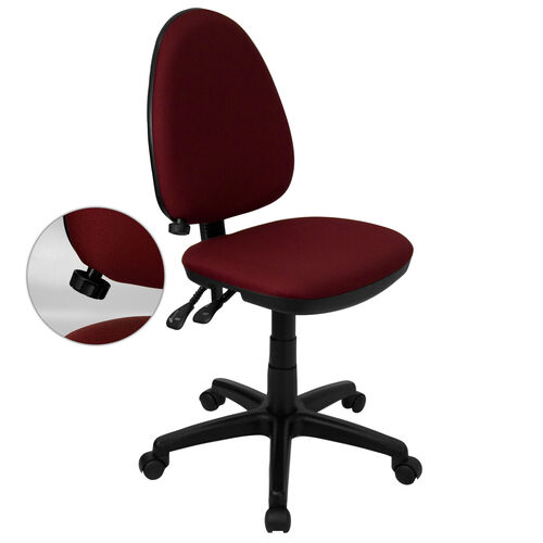 Our Mid-Back Burgundy Fabric Multifunction Swivel Ergonomic Task Office Chair with Adjustable Lumbar Support is on sale now.