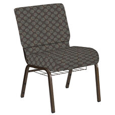 Embroidered 21''W Church Chair in Cirque Earth Fabric with Book Rack - Gold Vein Frame