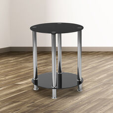 Riverside Collection Black Glass End Table with Shelves and Stainless Steel Frame