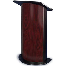 Curved Jewel Lectern with Black Anodized Aluminum - Mahogany Finish - 26.75