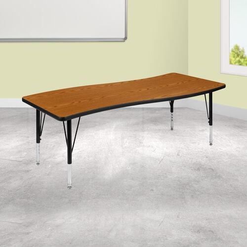 "26""W x 60""L Rectangular Wave Collaborative Oak Thermal Laminate Activity Table - Height Adjustable Short Legs"