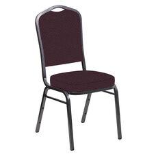 Crown Back Banquet Chair in Venus Aubergine Fabric - Silver Vein Frame