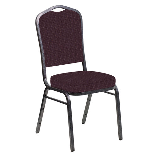 Our Crown Back Banquet Chair in Venus Aubergine Fabric - Silver Vein Frame is on sale now.