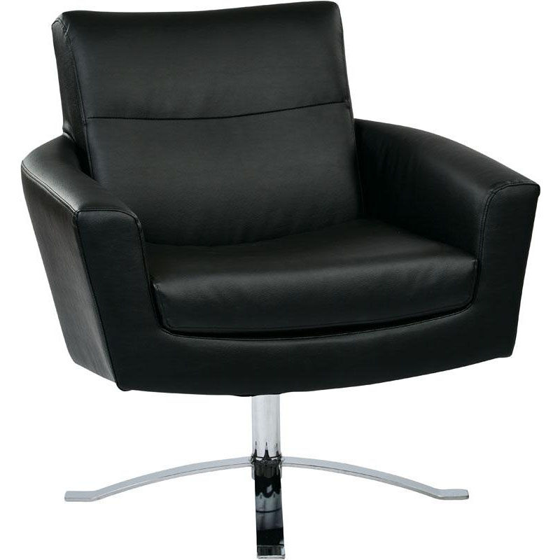 Ave Six Nova Faux Leather Chair With Wide Star Base And Protective Floor  Glides   Black