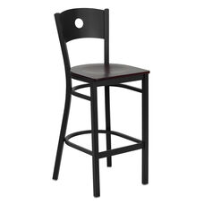 Black Circle Back Metal Restaurant Barstool with Mahogany Wood Seat