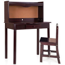 Child Sized Classic Espresso Chair and Desk Set with Corkboard Back Panel and Storage Drawer - 27