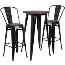"24"" Round Black Metal Bar Table Set with Wood Top and 2 Stools"
