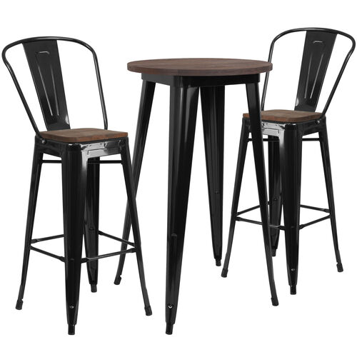 "Our 24"" Round Metal Bar Table Set with Wood Top and 2 Stools is on sale now."