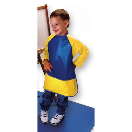 Our Super Soft Vinyl Full Protection Long Sleeve Smock with Front Pocket - Blue and Yellow is on sale now.