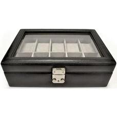 Debonair Ten Slot Watch Box - Genuine Leather - Black