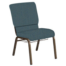 Embroidered 18.5''W Church Chair in Martini Sapphire Fabric with Book Rack - Gold Vein Frame