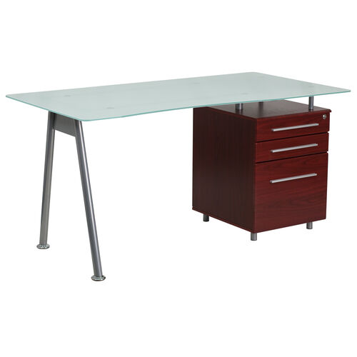 Our Glass Computer Desk with Mahogany Three Drawer Pedestal is on sale now.