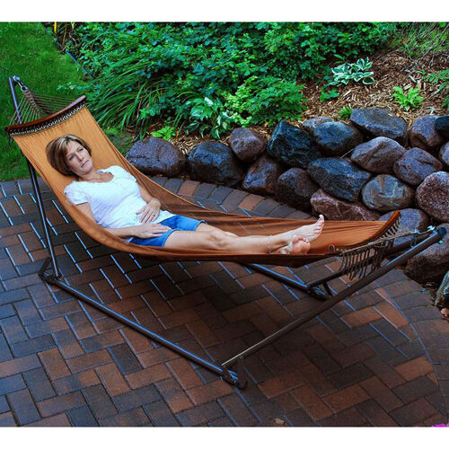 Our EZ-Cozy Portable Folding Mesh Hammock with Brown Frame - Burnt Orange is on sale now.