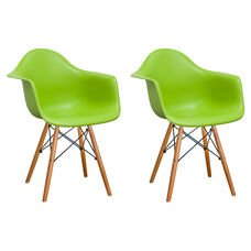 Paris Tower Arm Chair with Wood Legs and Green Seat - Set of 2
