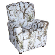 Kids Recliner with Button Tufted Back - True West Snow