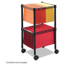 Safco® Two-Tier Compact Mobile Wire File Cart - Steel - 15-1/2w x 14d x 27-1/2h - Black