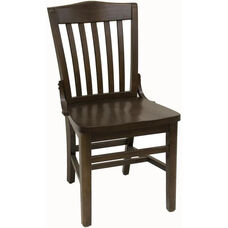 Vertical Slat Back Solid Wood Side Chair - Walnut Finish