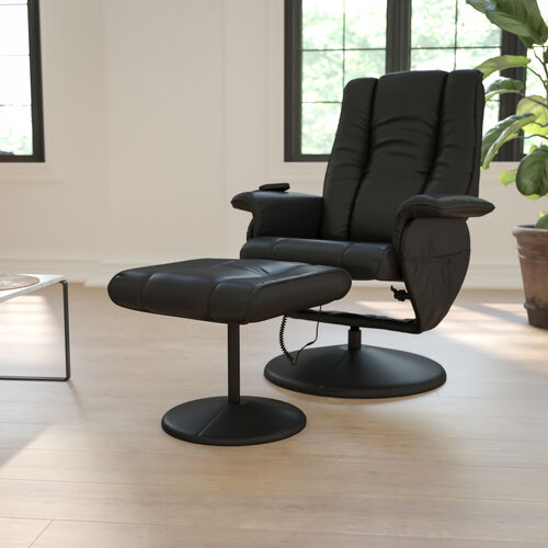 Massaging Heat Controlled Adjustable Recliner and Ottoman with Wrapped Base in Black LeatherSoft