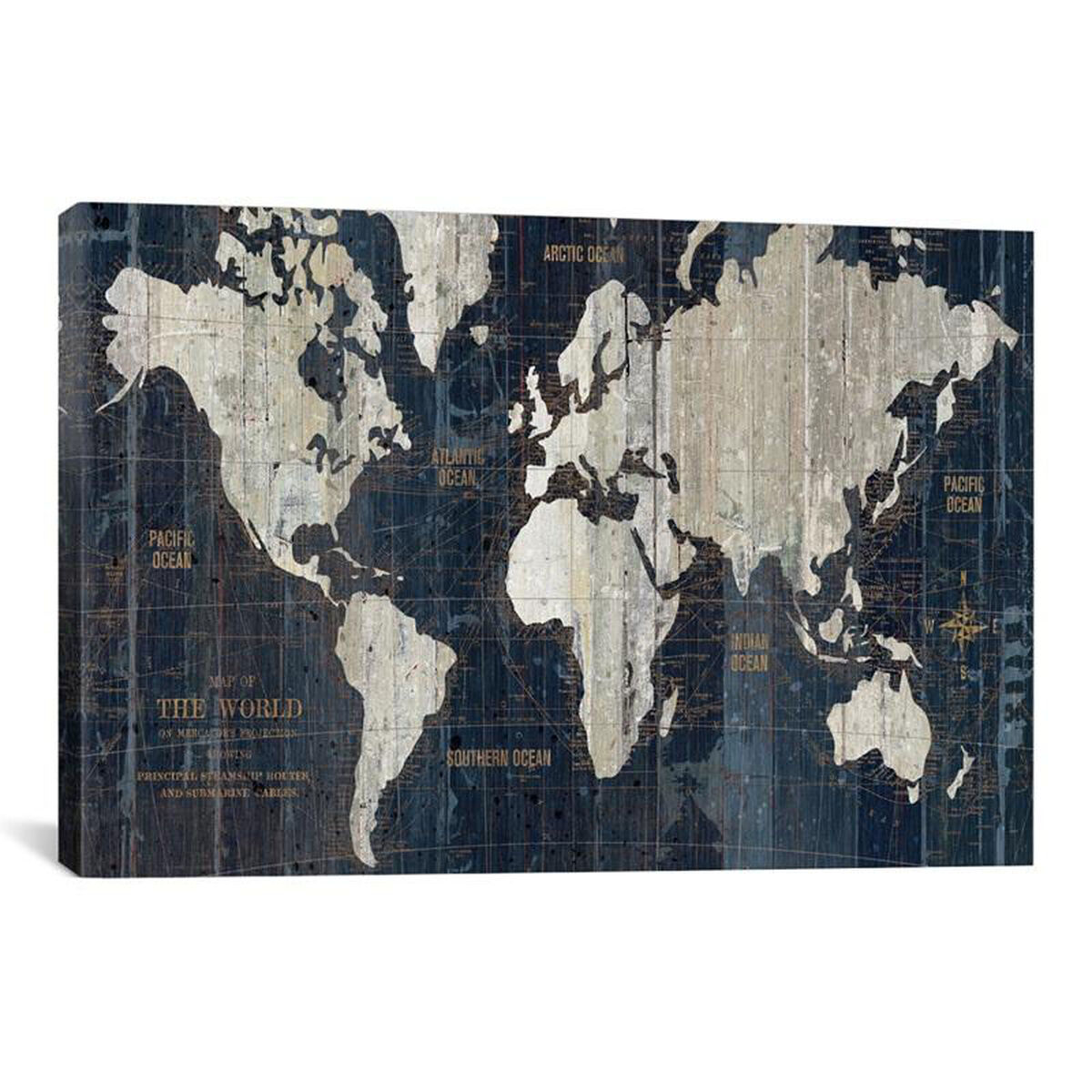 Wrapped canvas artwork bizchair our old world map blue by wild apple portfolio gallery wrapped canvas artwork is on sale gumiabroncs Image collections