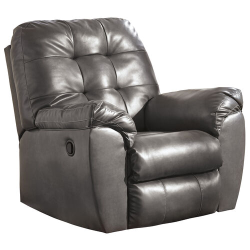 Signature Design by Ashley Alliston Rocker Recliner in Gray Faux Leather