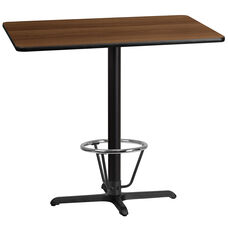 30'' x 45'' Rectangular Walnut Laminate Table Top with 23.5'' x 29.5'' Bar Height Table Base and Foot Ring